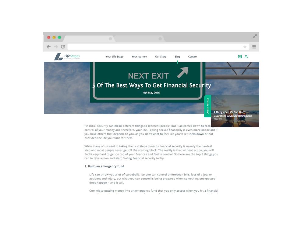 LifeStages website design